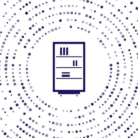 Blue Library bookshelf icon isolated on white background. Abstract circle random dots. Vector Illustration