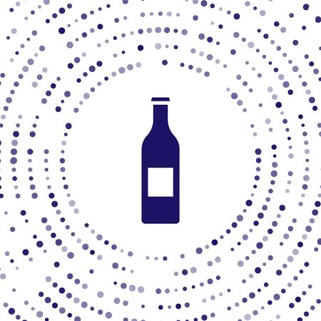 Blue Beer bottle icon isolated on white background. Abstract circle random dots. Vector Illustration 向量圖像