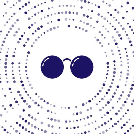 Blue Glasses icon isolated on white background. Eyeglass frame symbol. Abstract circle random dots. Vector Illustration