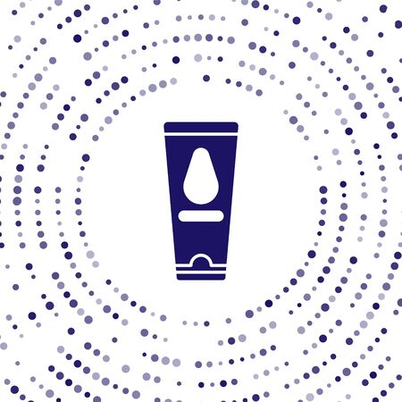Blue Personal lubricant icon isolated on white background. Lubricating gel. Cream for games. Tube with package box. Abstract circle random dots. Vector Illustration