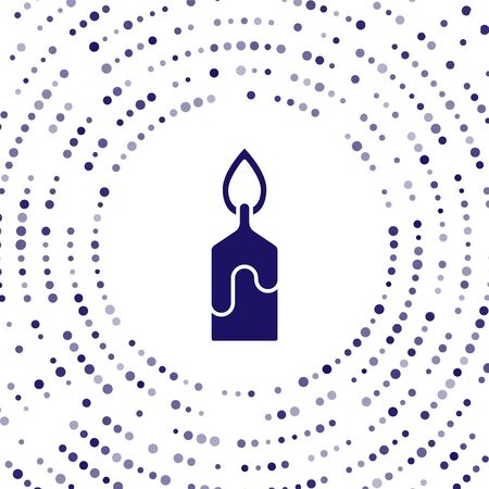 Blue Burning candle icon isolated on white background. Cylindrical candle stick with burning flame. Abstract circle random dots. Vector Illustration