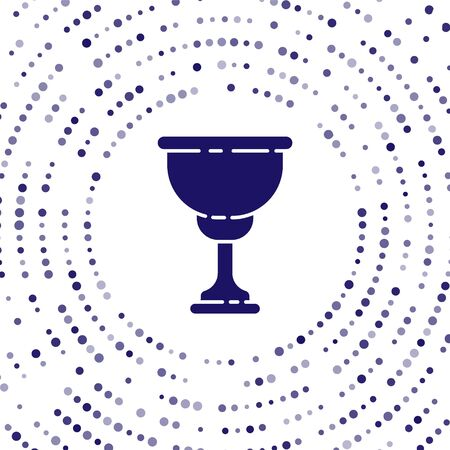 Blue Christian chalice icon isolated on white background. Christianity icon. Happy Easter. Abstract circle random dots. Vector Illustration Ilustração
