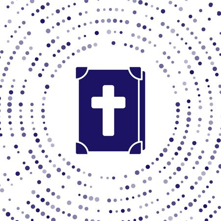 Blue Holy bible book icon isolated on white background. Abstract circle random dots. Vector Illustration Ilustração