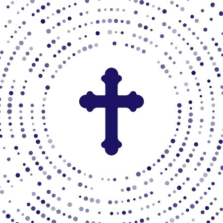 Blue Christian cross icon isolated on white background. Church cross. Abstract circle random dots. Vector Illustration