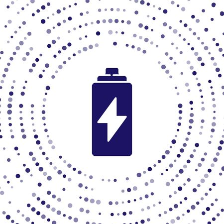 Blue Battery icon isolated on white background. Lightning bolt symbol. Abstract circle random dots. Vector Illustration 向量圖像