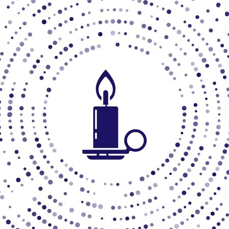 Blue Burning candle in candlestick icon isolated on white background. Cylindrical candle stick with burning flame. Abstract circle random dots. Vector Illustration