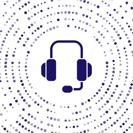 Blue Headphones icon isolated on white background. Support customer service, hotline, call center, faq, maintenance. Abstract circle random dots. Vector Illustration