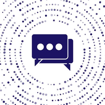 Blue Speech bubble chat icon isolated on white background. Message icon. Communication or comment chat symbol. Abstract circle random dots. Vector Illustration Ilustração