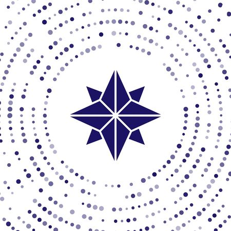 Blue Wind rose icon isolated on white background. Compass icon for travel. Navigation design. Abstract circle random dots. Vector Illustration Illustration