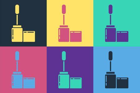 Pop art Mascara brush icon isolated on color background. Vector Illustration 向量圖像
