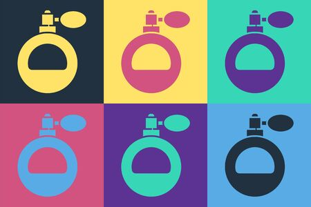Pop art Perfume icon isolated on color background. Vector Illustration