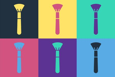 Pop art Makeup brush icon isolated on color background. Vector Illustration
