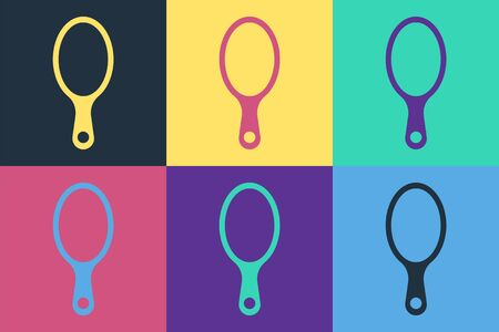 Pop art Hand mirror icon isolated on color background. Vector Illustration