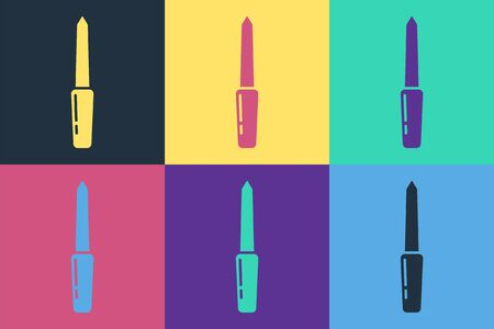 Pop art Nail file icon isolated on color background. Manicure tool. Vector Illustration  イラスト・ベクター素材