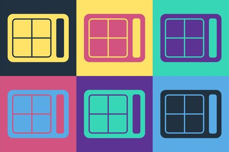 Pop art Eye shadow palette with brush icon isolated on color background. Vector Illustration 向量圖像