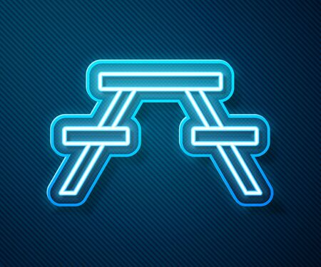 Glowing neon line Picnic table with benches on either side of the table icon isolated on blue background.  Vector Illustration