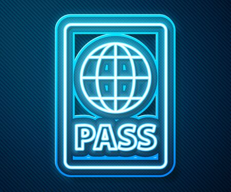 Glowing neon line Passport with biometric data icon isolated on blue background. Identification Document.  Vector Illustration Vectores
