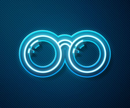 Glowing neon line Glasses icon isolated on blue background. Eyeglass frame symbol.  Vector Illustration 向量圖像