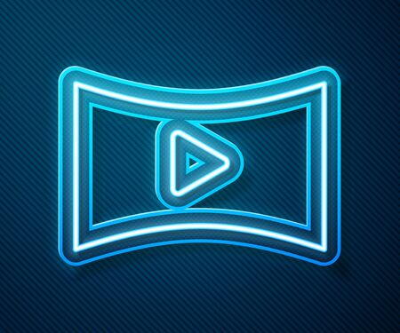 Glowing neon line Online play video icon isolated on blue background. Film strip with play sign. Vector Illustration  イラスト・ベクター素材