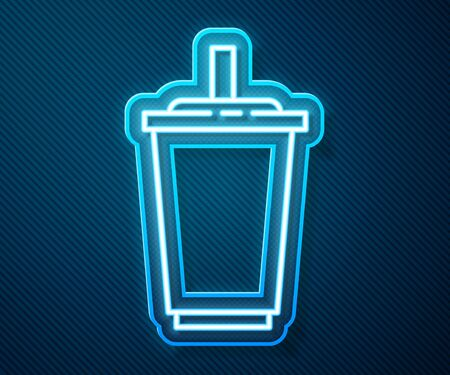 Glowing neon line Paper glass with drinking straw and water icon isolated on blue background. Soda drink glass. Fresh cold beverage symbol. Vector Illustration