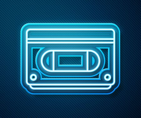 Glowing neon line  video cassette tape icon isolated on blue background. Vector Illustration 写真素材 - 143433719