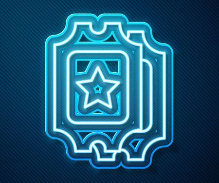 Glowing neon line Cinema ticket icon isolated on blue background. Vector Illustration