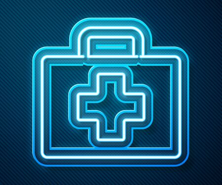 Glowing neon line First aid kit icon isolated on blue background. Medical box with cross. Medical equipment for emergency. Healthcare concept.  Vector Illustration Ilustração