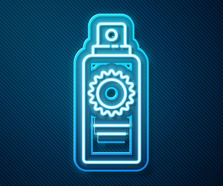 Glowing neon line Sunscreen spray bottle icon isolated on blue background. Protection for the skin from solar ultraviolet light. Vector Illustration