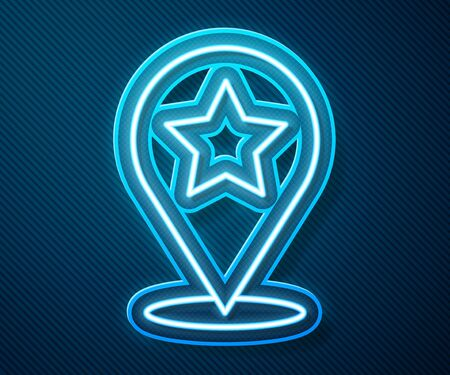 Glowing neon line Map pointer with star icon isolated on blue background. Star favorite pin map icon. Map markers.  Vector Illustration