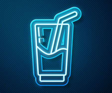 Glowing neon line Cocktail and alcohol drink icon isolated on blue background.  Vector Illustration