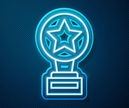 Glowing neon line Movie trophy icon isolated on blue background. Academy award icon. Films and cinema symbol. Vector Illustration