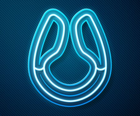 Glowing neon line Dildo vibrator for sex games icon isolated on blue background. Sex toy for adult. Vaginal exercise machines for intimate. Vector Illustration