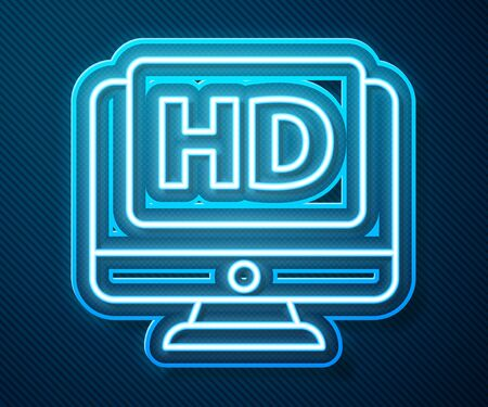 Glowing neon line Computer PC monitor display with HD video technology icon isolated on blue background. Vector Illustration