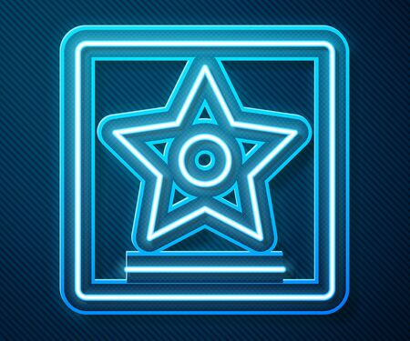 Glowing neon line star icon isolated on blue background. Ilustração
