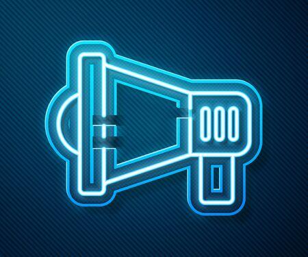 Glowing neon line Megaphone icon isolated on blue background. Speaker sign. Vector Illustration Ilustração