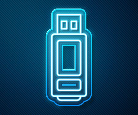 Glowing neon line USB flash drive icon isolated on blue background. Vector Illustration Illustration