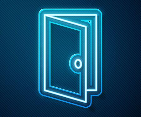 Glowing neon line Closed door icon isolated on blue background. Vector Illustration Ilustração