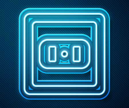Glowing neon line Electrical outlet icon isolated on blue background. Power socket. Rosette symbol. Vector Illustration