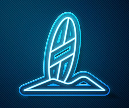 Glowing neon line Surfboard icon isolated on blue background. Surfing board. Extreme sport. Sport equipment.  Vector Illustration