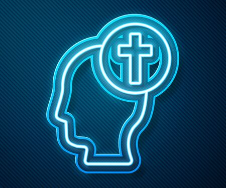 Glowing neon line Human head with christian cross icon isolated on blue background. Vector Illustration