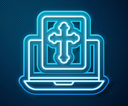 Glowing neon line Cross on the laptop screen icon isolated on blue background. Vector Illustration Ilustração