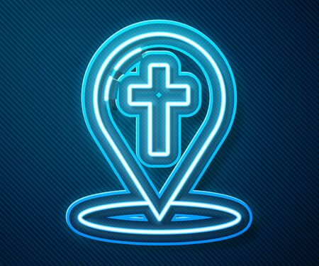 Glowing neon line Map pointer with christian cross icon isolated on blue background. Vector Illustration Ilustração