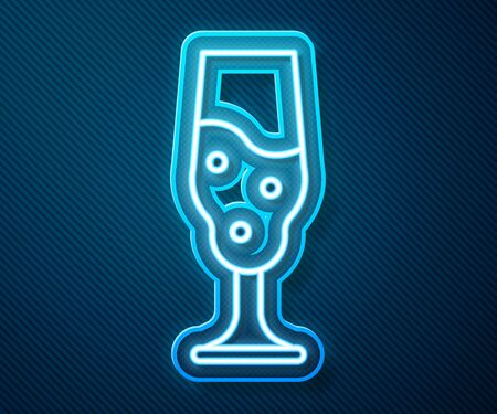Glowing neon line Wine glass icon isolated on blue background. Wineglass icon. Goblet symbol. Glassware sign. Happy Easter. Vector Illustration 向量圖像