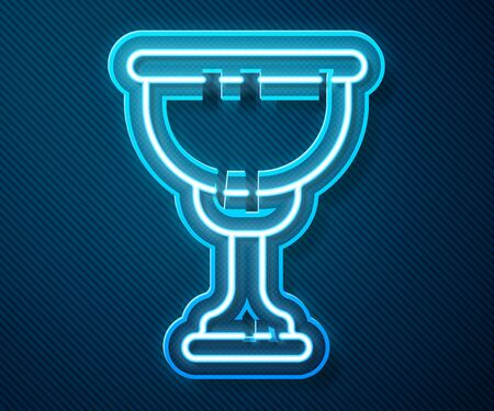 Glowing neon line Christian chalice icon isolated on blue background. Christianity icon. Happy Easter. Vector Illustration