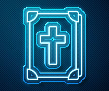 Glowing neon line Holy bible book icon isolated on blue background. Vector Illustration