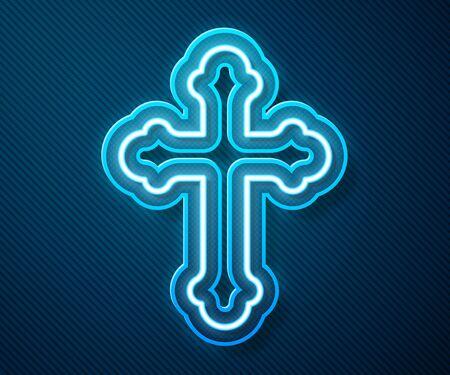 Glowing neon line Christian cross icon isolated on blue background. Church cross. Vector Illustration Ilustração