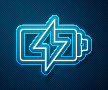 Glowing neon line Battery icon isolated on blue background. Lightning bolt symbol. Vector Illustration