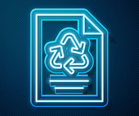 Glowing neon line Paper with recycle icon isolated on blue background. Vector Illustration