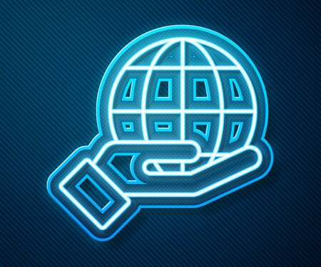 Glowing neon line Human hand holding Earth globe icon isolated on blue background. Save earth concept. Vector Illustration