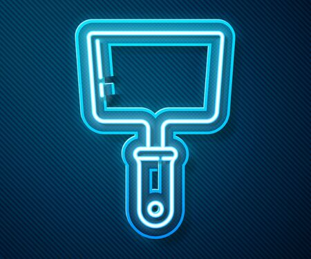 Glowing neon line Putty knife icon isolated on blue background. Spatula repair tool. Spackling or paint instruments. Vector Illustration Illustration